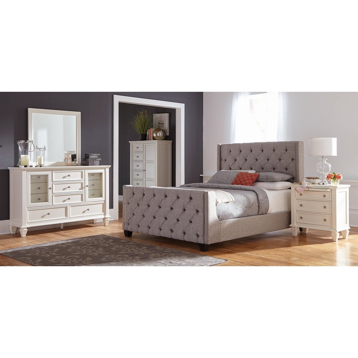 Hadley Grey and White 3-piece Upholstered Bedroom Set with Chest