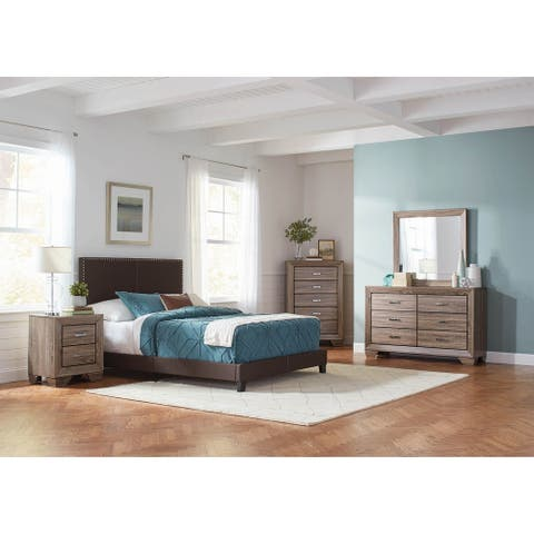 Amherst Brown 3-piece Upholstered Bedroom Set with Dresser