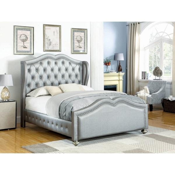 Isabella Metallic 4-piece Upholstered Bedroom Set with 2 Nightstands
