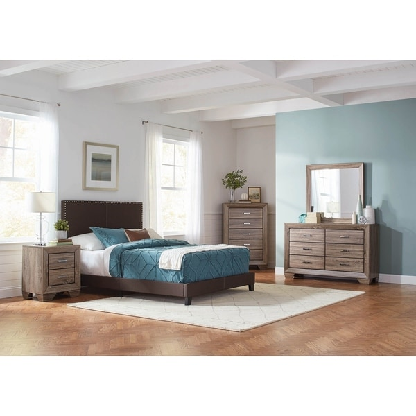 Amherst Brown and Washed Taupe 5-piece Upholstered Bedroom Set