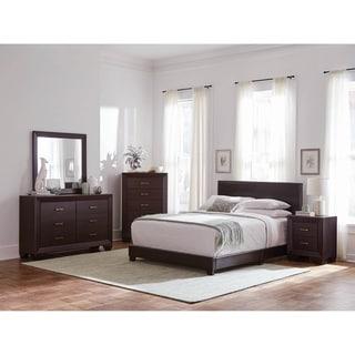 Warwick Brown 4-piece Upholstered Bedroom Set with 2 Nightstands