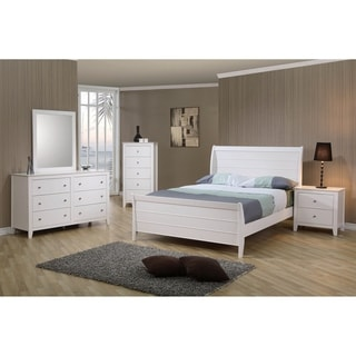 Waverly White 4-piece Sleigh Bedroom Set with 2 Nightstands