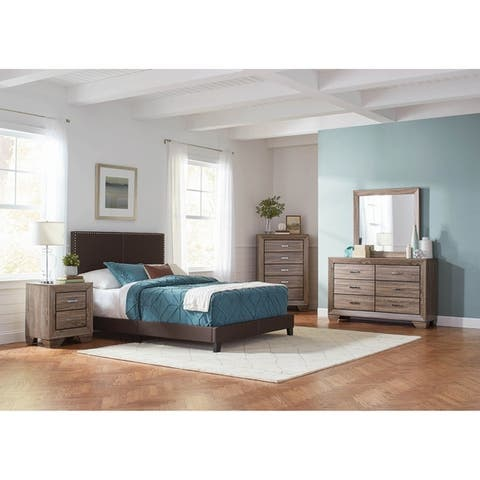 Amherst Brown 5-piece Upholstered Bedroom Set with 2 Nightstands