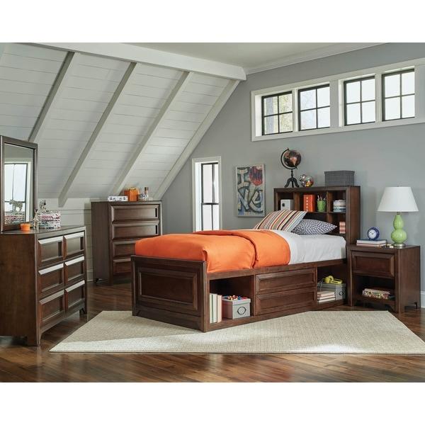 Cassidy Maple Oak 5-piece Storage Bedroom Set with 2 Nightstands
