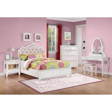 Seraphina White 3-piece Storage Bedroom Set with Dresser