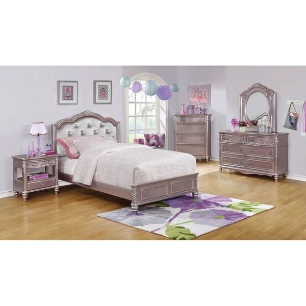 Seraphina Metallic Lilac 4-piece Bedroom Set with 2 Nightstands