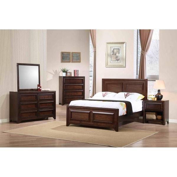 Cassidy Maple Oak 4-piece Panel Bedroom Set with 2 Nightstands