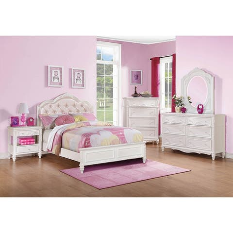 Seraphina White and Pink 3-piece Upholstered Bedroom Set with Dresser