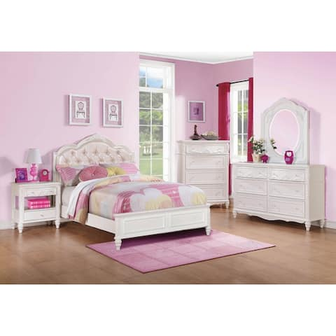Seraphina White 4-piece Upholstered Bedroom Set with 2 Nightstands