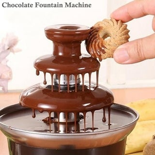 Mini Chocolate Fountain Machine 3-Tier Household Electric Hot Pot Melter for Kids Party Halloween Christmas