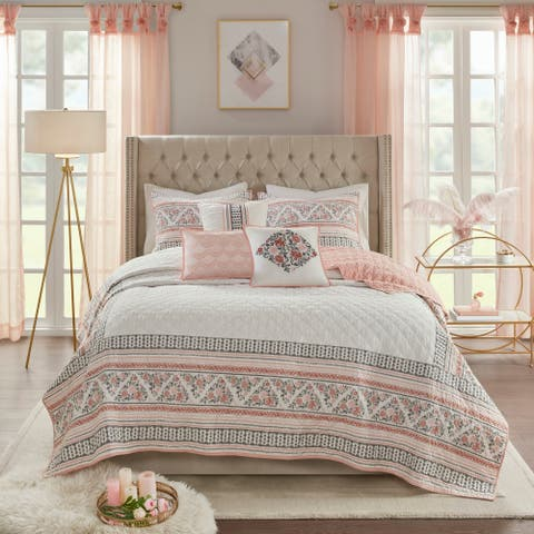 Madison Park Esther Dusty Rose / White Jacquard Reversible Coverlet Quilt Set