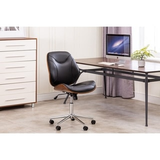 Porthos Home Izan Armless Swivel Office Chair, Chrome Base, PU Leather