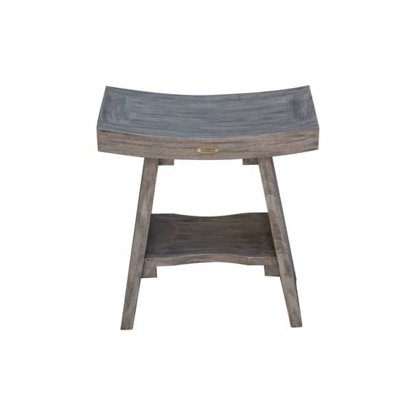 18 Gray Coastalvogue Serenity Solid Teak Shower Bench