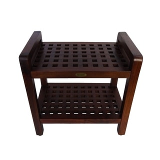 """DecoTeak Espalier 20"""" Solid Teak Lattice Shower Bench With Shelf And LiftAide Arms in WoodLand Brown Finish"""