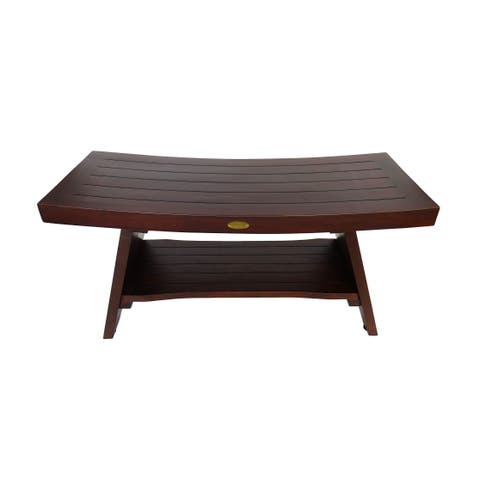 "DecoTeak Serenity 35"" Solid Teak Shower Bench Stool With Shelf in WoodLand Brown Finish"