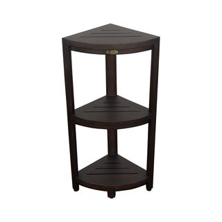DecoTeak Oasis 3-Tier Solid Teak Corner Shower Shelf in Signature WoodLand Brown Finish