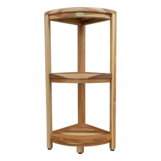 EcoDecors EarthyTeak 3 Tier Teak Corner Shelf for Organization & Storage in EarthyTeak Finish