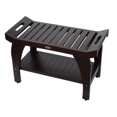 """DecoTeak Tranquility 30"""" Extended Length Teak Shower Bench With Shelf in WoodLand Brown Finish"""