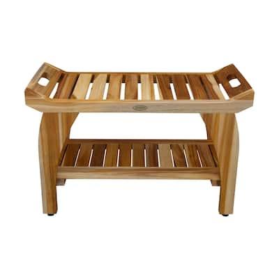 "30"" EcoDecors EarthyTeak Tranquility Solid Teak Shower Bench With Shelf- EarthyTeak Finish"