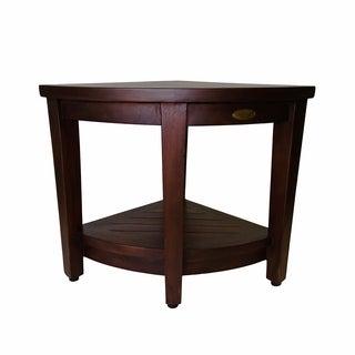DecoTeak Corner Shower Bench With Shelf DecoTeak Oasis in Signature WoodLand Brown Finish
