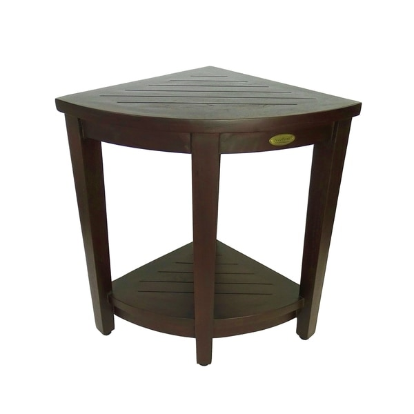 DecoTeak Oasis Extended Height Teak Corner Shower Bench With Shelf in Signature WoodLand Brown Finish