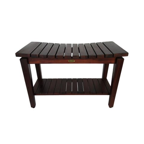 "DecoTeak Sojourn 30"" Solid Teak Curved Seat Shower Bench in WoodLand Brown Finish"