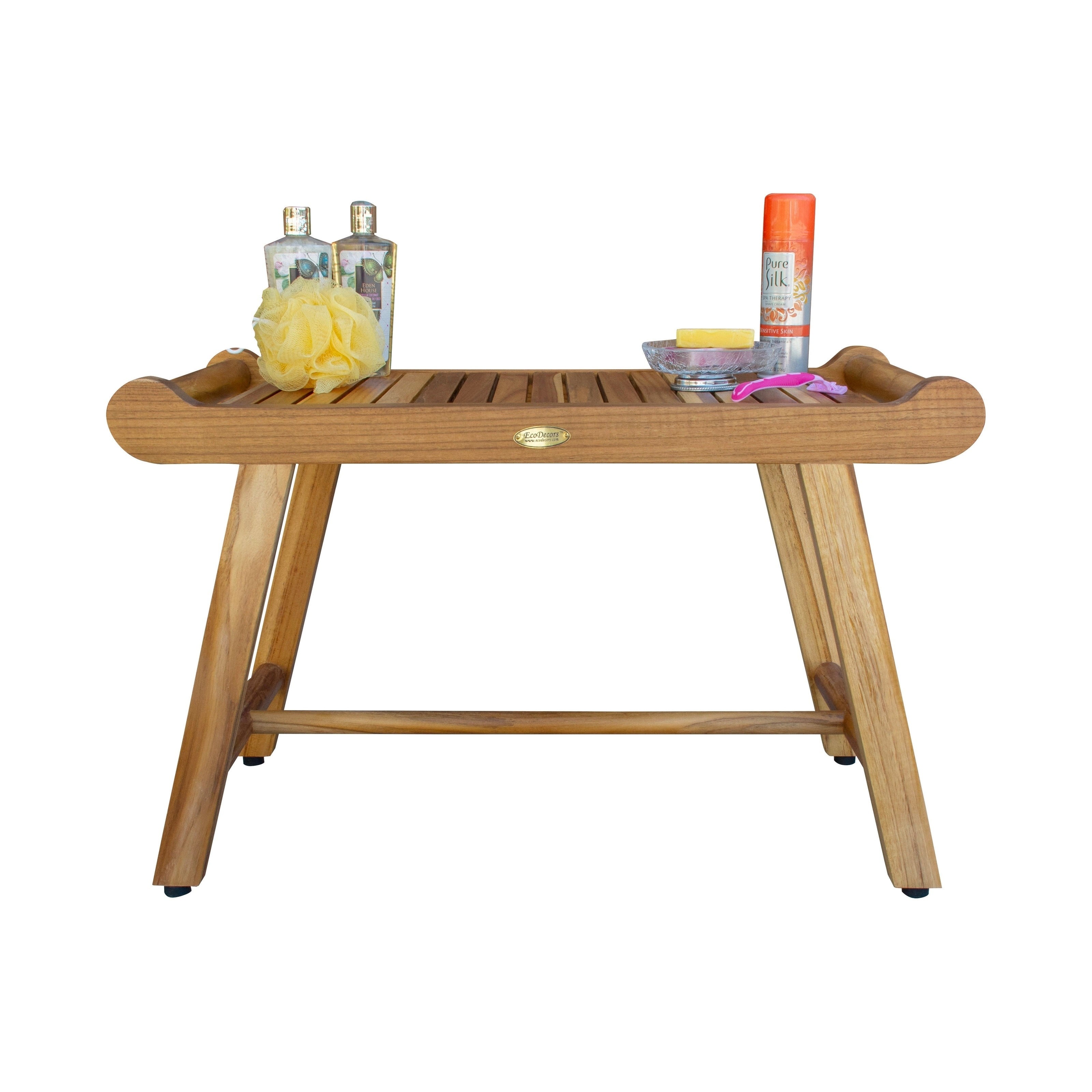 Picture of: Shop Black Friday Deals On 30 Ecodecors Earthyteak Harmony Solid Teak Shower Bench With Shelf And Liftaide Arms Earthyteak Finish Overstock 28301021