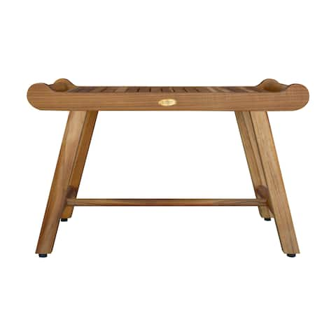 "30"" EcoDecors EarthyTeak Harmony Solid Teak Shower Bench With Shelf And LiftAide Arms- EarthyTeak Finish"