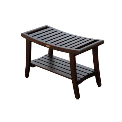 """30"""" DecoTeak Harmony Solid Teak Shower Bench With Shelf And LiftAide Arms in WoodLand Brown Finish"""