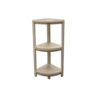 CoastalVogue 3 Tier Oasis Solid Teak Corner Shelf- DriftWood Finish
