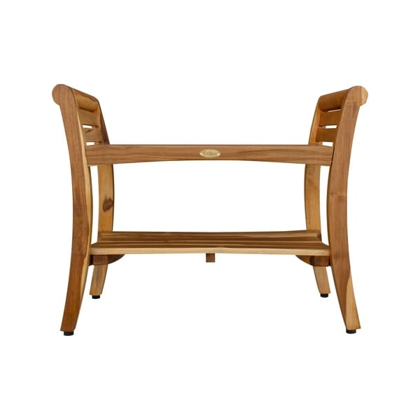 """29"""" EcoDecors Extended Length EarthyTeak Symmetry Solid Teak Shower Bench With Shelf And LiftAide Arms EarthyTeak Finish"""