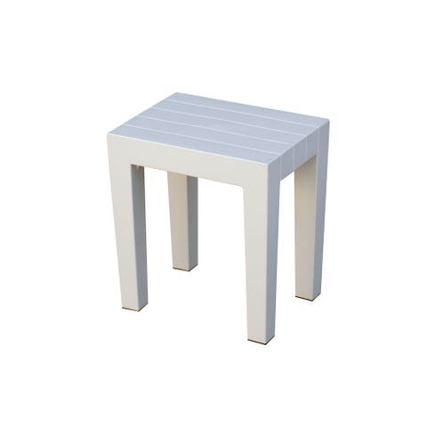 2 DesignByIntent Indestructible Recyclable Polypropylene Shower Stools in White Ibis - Set of 2