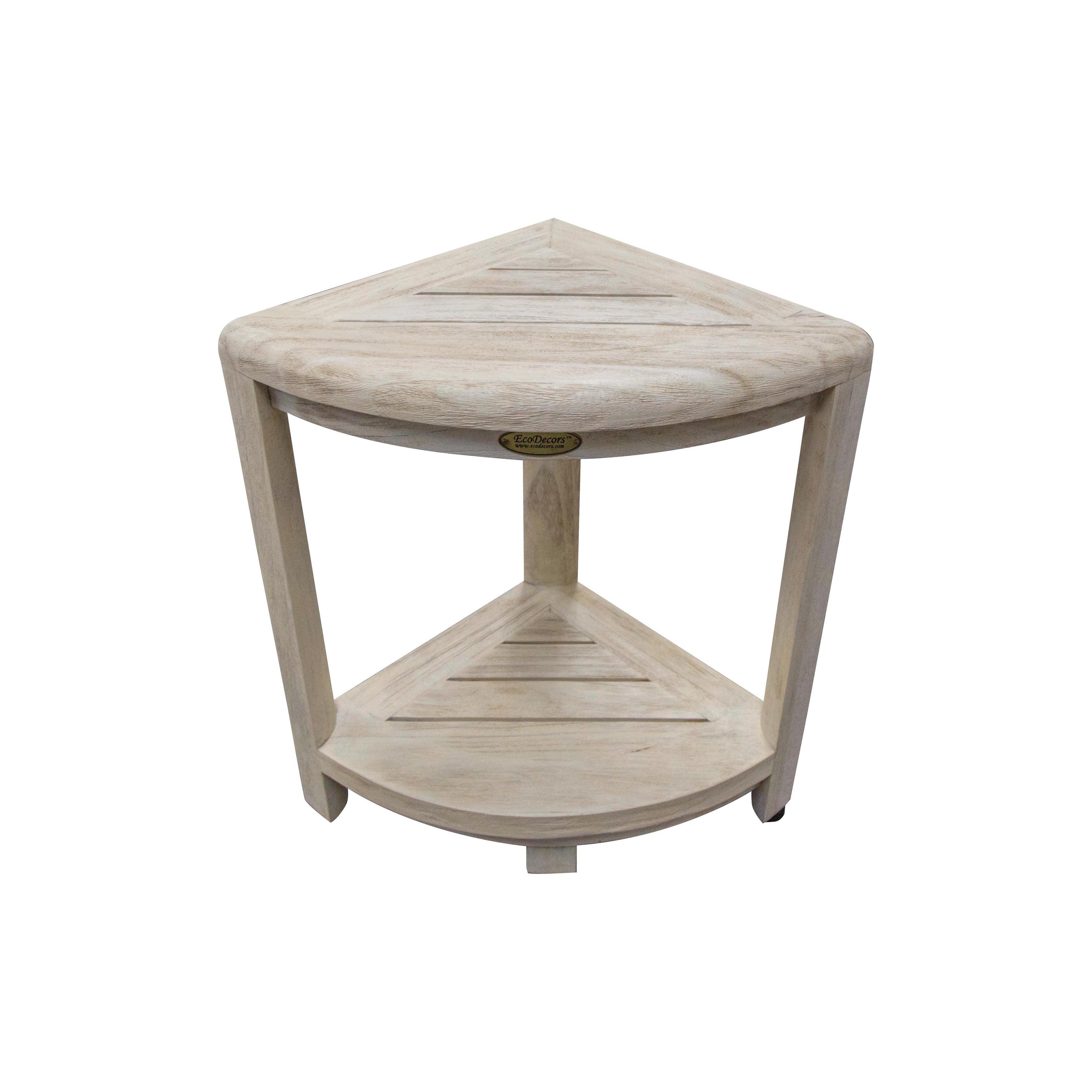 Corner Teak Shower Bench Coastalvogue Oasis 2 Tier With Storage Shelf Coastal Driftwood Finish Overstock 28301041