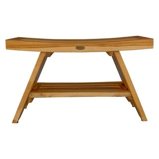 "Link to 29"" Extended Length EcoDecors EarthyTeak Serenity Shower Bench With Shelf- EarthyTeak Finish Similar Items in Shower Stools"