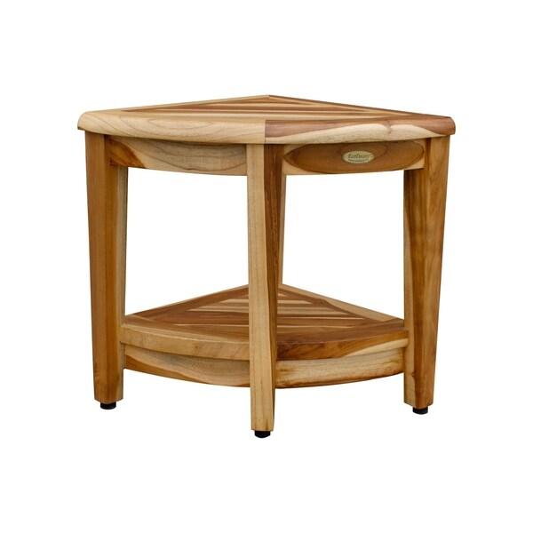 Corner Teak Bench With Shelf- EcoDecors EarthyTeak Oasis - EarthyTeak Finish