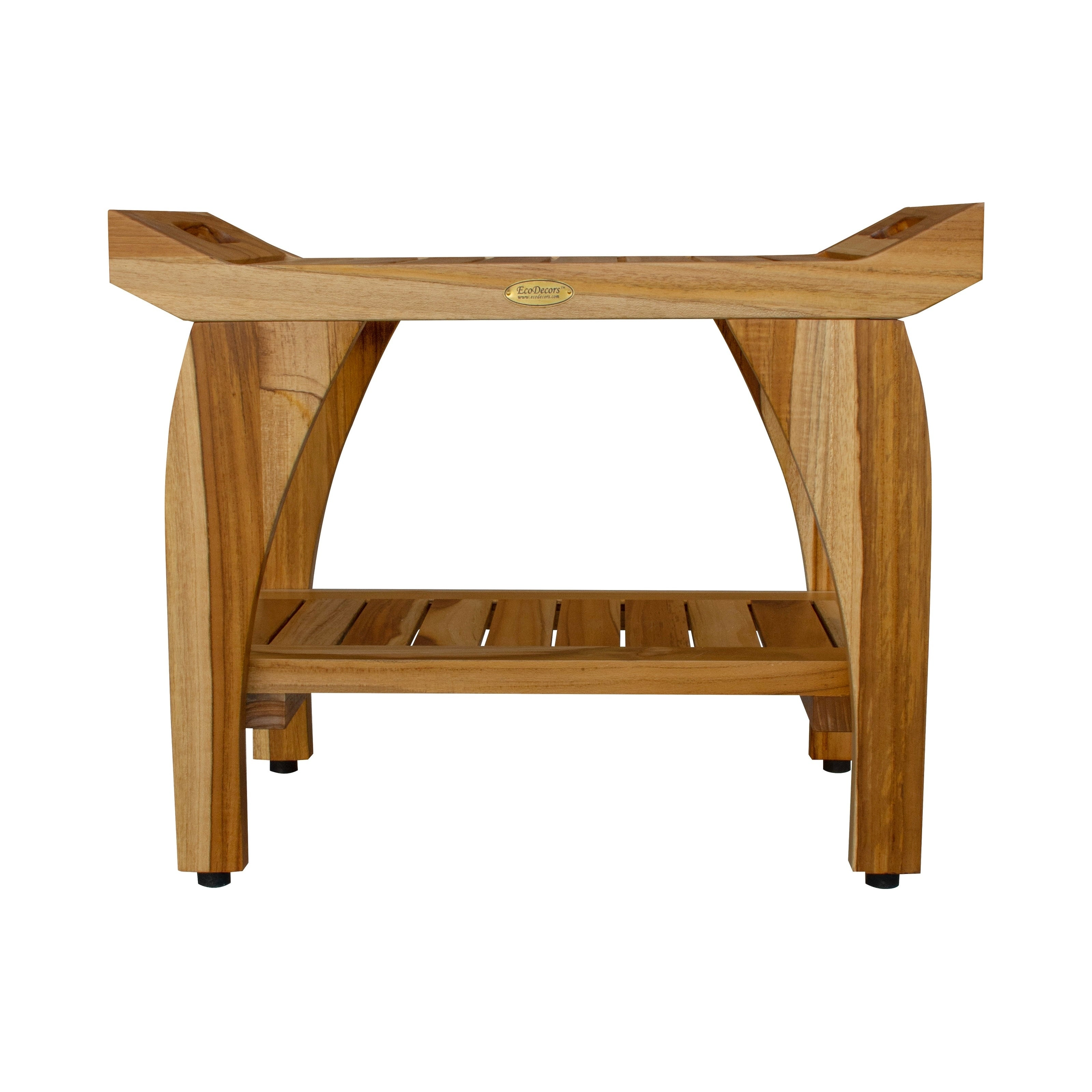 24 Ecodecors Earthyteak Tranquility Solid Teak Shower Bench With Shelf Finish