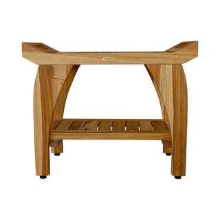 "24"" EcoDecors EarthyTeak Tranquility Solid Teak Shower Bench With Shelf- EarthyTeak Finish"