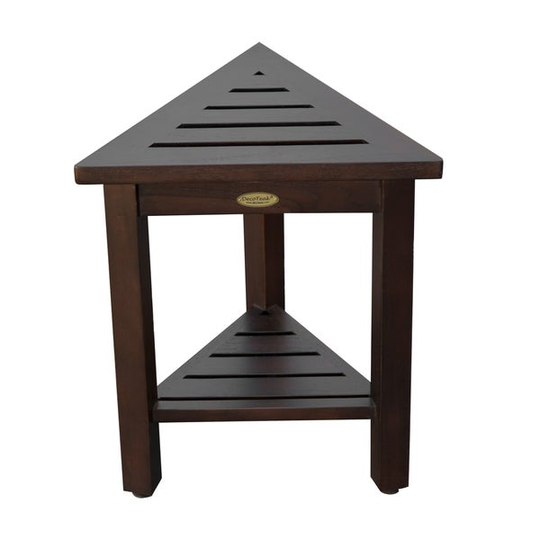DecoTeak FlexiCorner Triangular Solid Teak Modular Stool, Table with Shelf in WoodLand Brown Finish