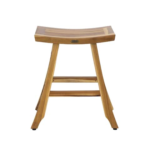 "24"" EcoDecors Satori Bistro Height Teak Kitchen Counter Stool EarthyTeak Finish"