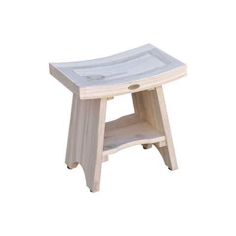 "18"" CoastalVogue Serenity Teak Shower Stool with Shelf in Coastal DriftWood Finish"