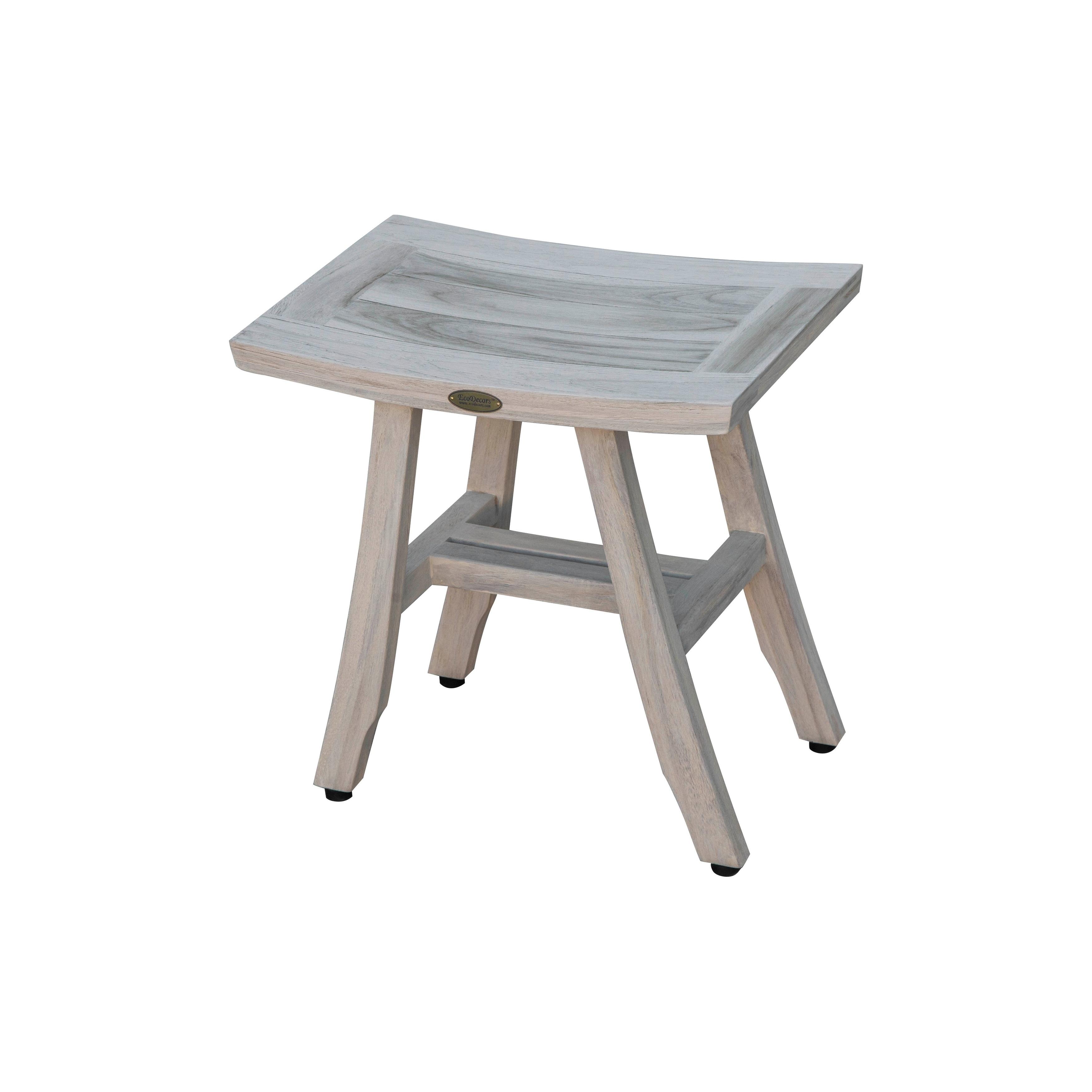 Coastalvogue Satori 18 Teak Shower Bathroom Stool Coastal Driftwood Finish Overstock 28301106