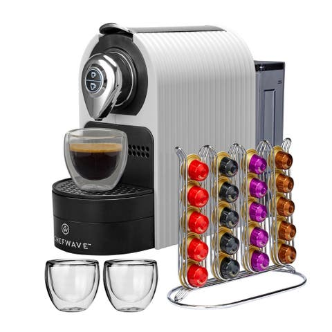 ChefWave Espresso Machine with Capsule Holder & Cups (White)