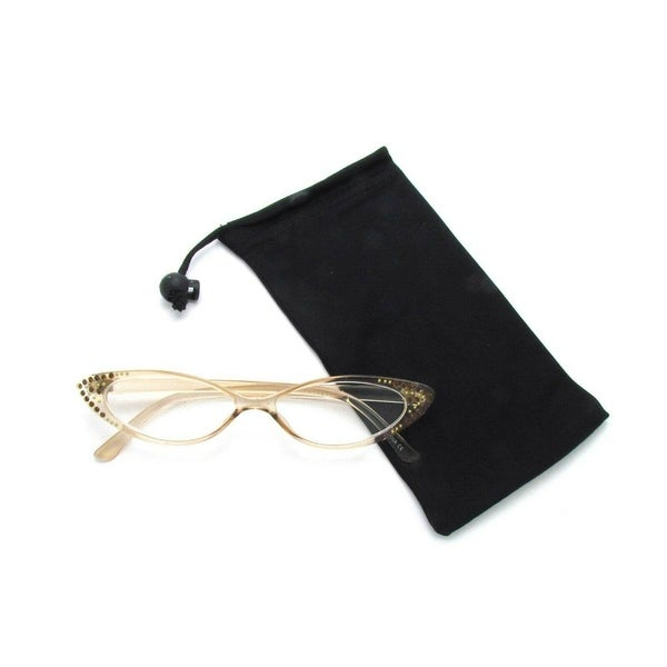 Rhinestone Colorful Cat Eye Reading Glasses (Crystal Light Brown)R223