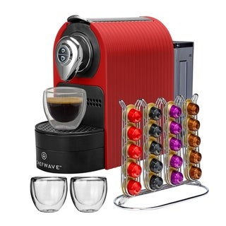ChefWave Espresso Machine with Capsule Holder & Cups (Red)