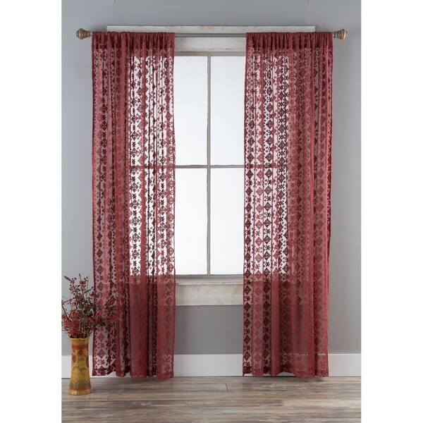 Porch Den Claudia Garnet Diamond Lace Curtain Panels Set Of 2 On Sale Overstock 28301330