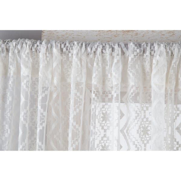 Porch Den Claudia Sheer Diamond Lace Curtain Panels Set Of 2 Overstock 28301331