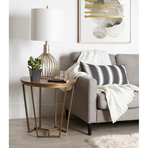 Kate and Laurel Solvay Wood and Metal Side Table. - 23.75x23.75x23.25