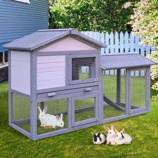 PawHut Large Outdoor Raised Painted Deluxe Wood Rabbit