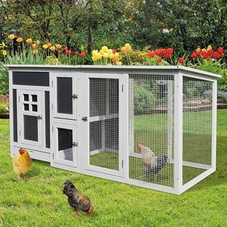 PawHut 32 Wood Large Indoor Outdoor Chicken Coop with Run& Nesting Box