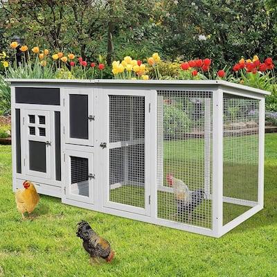 "PawHut 63"" Wood Large Indoor Outdoor Chicken Coop with Run& Nesting Box"